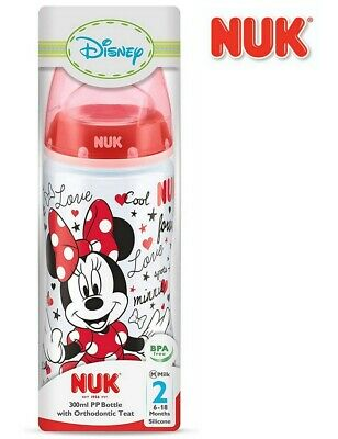 NEW NUK Minnie Mouse Baby Bottle 6-18M Level 3 Disney Design First Choice+ Wide