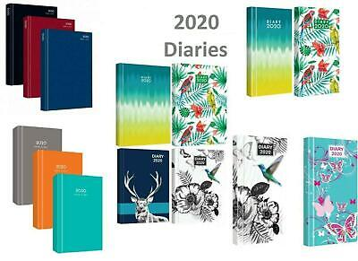 2020 A4 A5 A6 Diaries Slim Pocket Hardback Week/Day View Asstd Colours