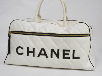 CHANEL Quilted Matelasse Logo White Leather Bowling Boston Travel Hand Bag Used