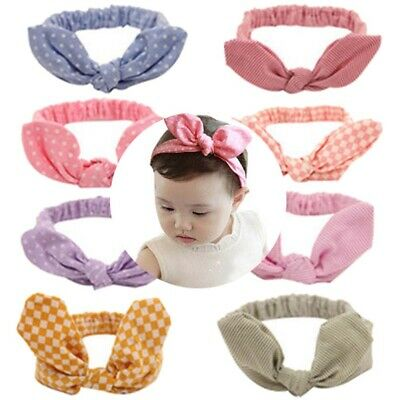 Cute Girls Baby Rabbit Ear Knotted Hairbands Bows Stretch Turban Wrap Headwear