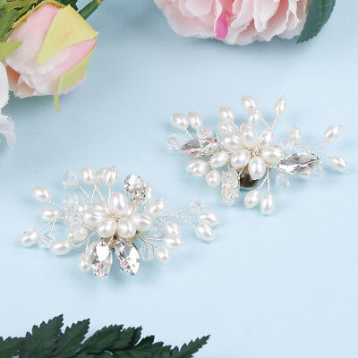 1 Pair rhinestone pearl shoe clips wedding party shoes charm decoration JOBWUK