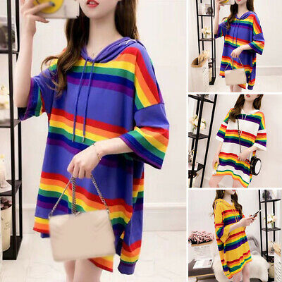 Ladies Drawstring 3/4 Sleeve Blouse Tops Rainbow Striped Plus Size Tunic T-Shirt