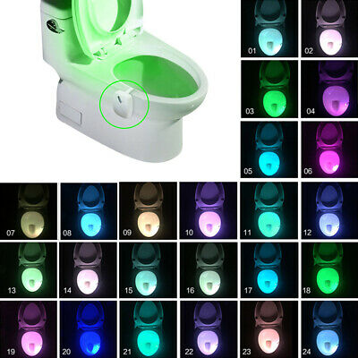 8-24 Colors Changing Toilet LED Night Light Motion Activated Seat Sensor Lamp UK