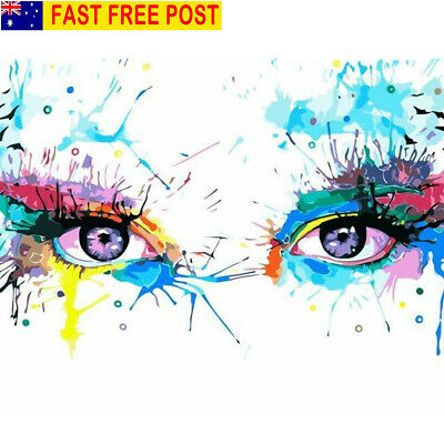 AU Framed Eyes Paint by Number Kit Multi-colored DIY Painting Home Wall Decor