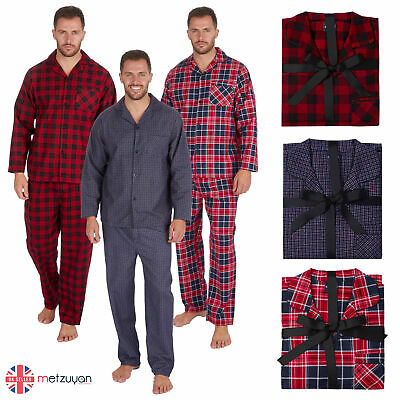 Mens 100% Cotton Flannel Check Pyjamas PJ Pajamas Set Buttons Chest Pocket M-XXL