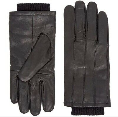 House of Fraser Howick Real Leather Cuff Gloves Mens Warm Winter Black RRP £28