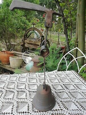 Antique French Salvage Cast Iron Steel Shop Door Ringing Hanging Bell