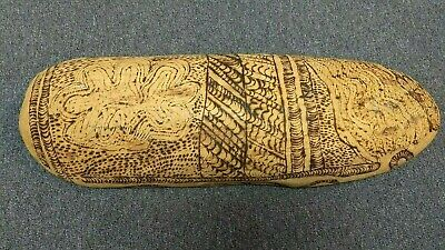 Aboriginal Coolamon Large - Hand Crafted Pokerwork - Mulga Wood - Free Shipping