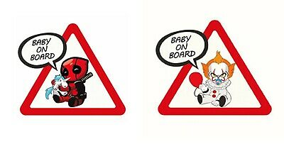Autocollant Voiture Bébé à bord Deadpool Spiderman Batman le Clown Baby on Board