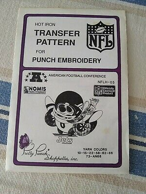 NEW Pretty Punch Iron Transfer Pattern Crafts NY Jets Embroidery NFL Football
