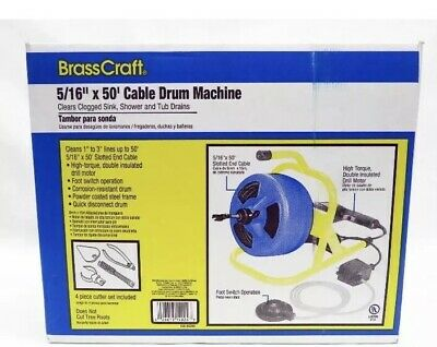"""BrassCraft Portable Drill Mounted 600-BC260 5/16"""" x 50' Cable Drum Machine"""