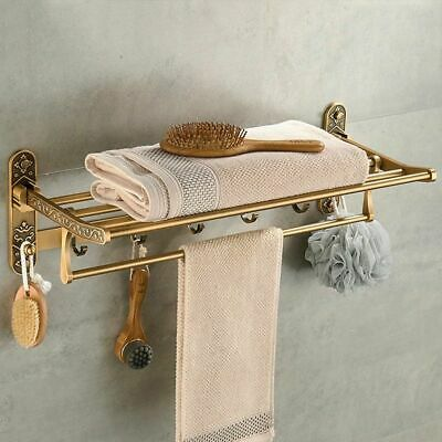 Antique Brass Bath Towel Rack Nail Free Bathroom Holder Double Shelf With Hooks
