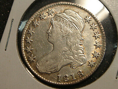 1818 Capped Bust Half Dollar XF details - scratch on forehead & face
