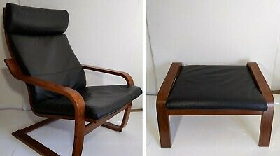 Incredible Ikea Poang Chair Armchair Ottoman W Leather Cushion Gmtry Best Dining Table And Chair Ideas Images Gmtryco