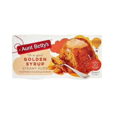 Aunt Betty's Gooey Golden Syrup Steamy Puds 2 Pack 190g