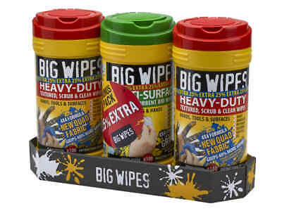 Big Wipes Triple Pack +25% Extra 4x4 Heavy Duty Strong Industrial Cleaning Wipes