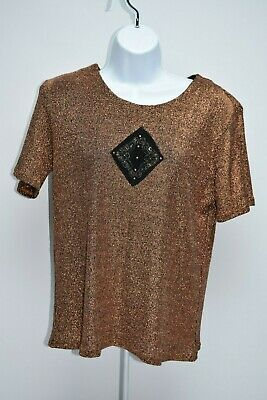 Women's Monique Sport Short Sleeve Bronze Metallic Color T Shirt Beaded LARGE