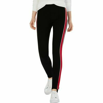 TOMMY HILFIGER NEW Women's Black Racing-stripe Pull On Stirrup Pants  TEDO