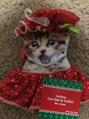 Holiday Christmas Cat Hat And Collar/ Mrs.Claus/1102