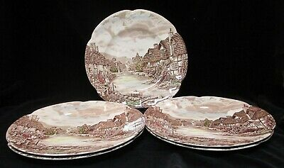 "5 Johnson Bros Olde English Countryside Multi-Color 10"" Dinner Plates England"