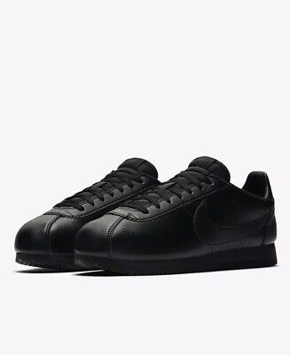 MENS NIKE CLASSIC Cortez Leather Trainers Shoes BlackBlue