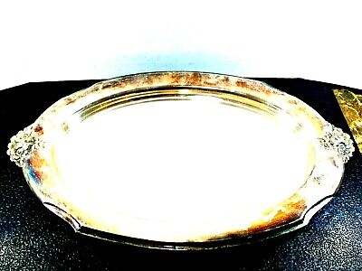 """""""VTG""""-(WILCOX INT'L SILVER)-""""SILVERPLATED""""-(LARGE 20""""x13"""")-FOOTED FLORAL PLATTER"""