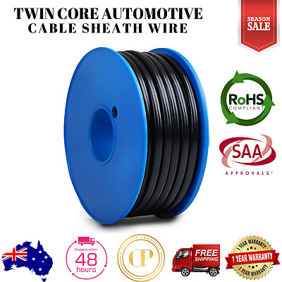 Automotive Twin Core Wire 30M 4MM SAA 2 Sheath Electrical Cable Caravan 450V NEW