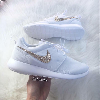 Swarovski Women's Nike Roshe Run Roshe One All Black Sneakers Blinged Out With Authentic Clear Swarovski Crystals Custom Bling Nike Shoes
