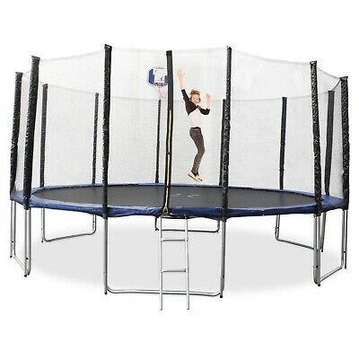 16FT/4.8M Round Trampoline w/ Ladder & Basketball Hoop Safety Net Pad Jumping