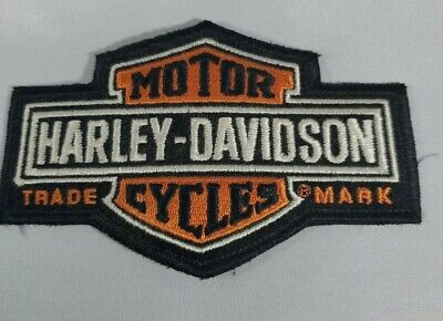 "Harley Davidson Motor Cycles Global Products Patch 4.5"" X 3"" Black Orange Logo"