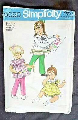 Vintage Simplicity Sewing Pattern #9090 Toddlers' Top, Pants & Bloomers Size 1