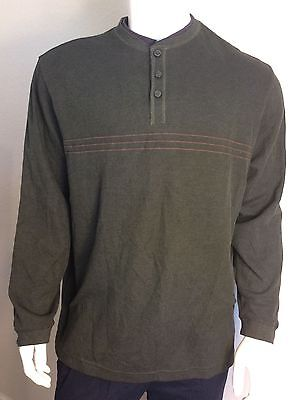 Haggar Mens Size XXL Two Tone Ribbed Henley With Built in Ribbed tee