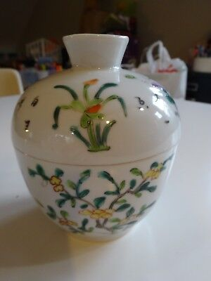 Antique Chinese Porcelain TEA BOWL & COVER Early Slip Design -FINE QUALITY