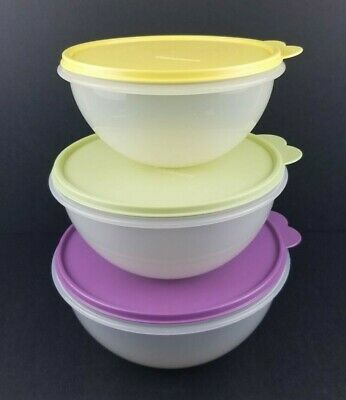 Tupperware WONDERLIER Bowls Set of 3 nesting bowls with lids