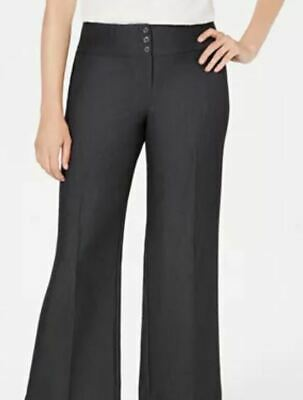 Womens Style & CO Wide Leg Midrise Button & Zip Front Pants Gray NEW Size 4