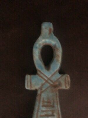 Rare Large Ancient Egyptian Stone Pendant Ankh Amulet 26th DYN 680 Bc