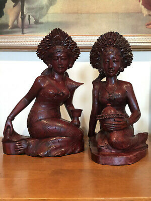 Pair of Balinese Hand carved solid wooden statues / Ladies / As NEW