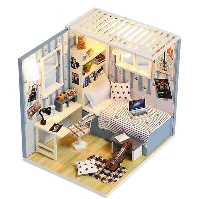 Dollhouse Miniature Furniture DIY Kit Wood Toy Cake lights Cottage L7R2 Hou G7W3
