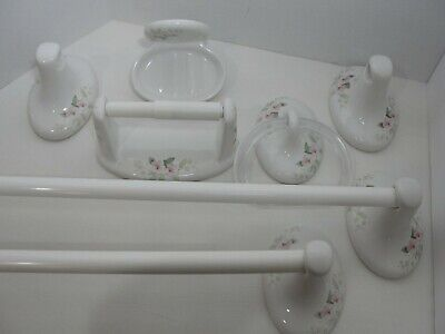 VTG White Pink Floral porcelain Bath Fixtures Soap Dish Towel Bar Toilet Tissue