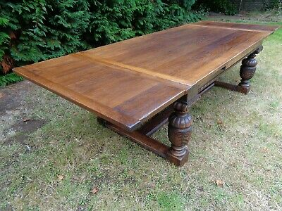 LARGE EXTENDING 9ft 6in CARVED OAK REFECTORY DINING TABLE / ANTIQUE STYLE