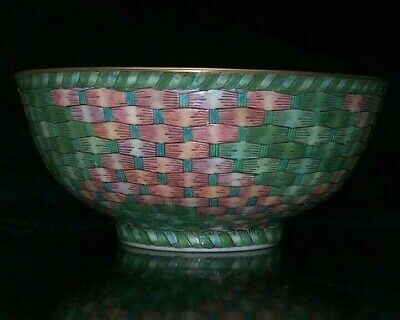Chinese Porcelain Bowl w/Heavy Pink & Green Hue Enameling - Maker's Mark Stamped