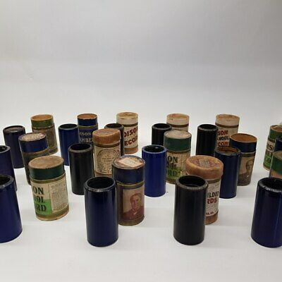 Vintage Edison Cylinder Records (14 Cylinders) With Boxes #49661-1