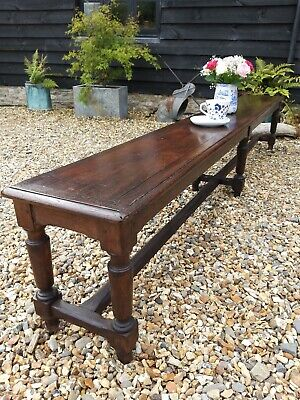 Fabulous Oak Refectory Bench 19th Century Joint Stool Dining Kitchen Bootroom...