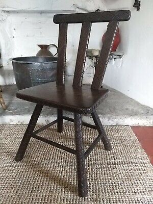 A Fabulous Early 19th Century Welsh Folk Art Chair Cottage  Back Stool Carved