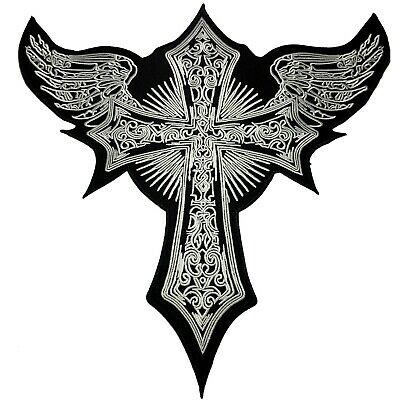 Large Holy Cross Wings Gothic Style Embroidered DIY Iron Sew On  XL Patches
