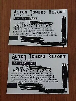 Alton Towers (2) Thursday 11th October Actual Card Tickets ~Fast Free SecurePost