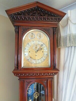 Antique Musical Longcase Clock / Victorian Mahogany Grandfather Clock