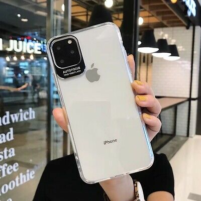 For iPhone 11 Pro Max Transparent Soft TPU+PC Phone Case Cover Camera Protective