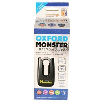 Oxford Motorcycle Padlock Monster Black Disc Lock OF32M Ultra Strong -OF32M