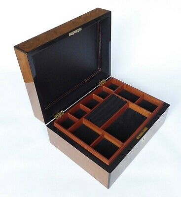 Large Antique Burr Walnut, Brass & Ebony Lipped Jewellery Box - C1860 – 1880